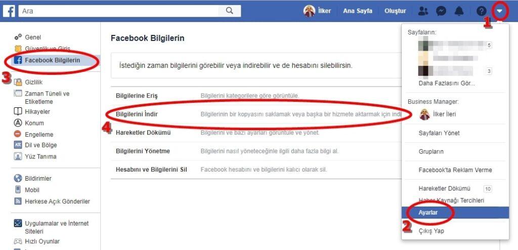 Facebook Veri Arşivi Talep Etme
