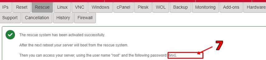 Hetzner Linux Kurtarma Modu - Rescue Şifre Bölümü